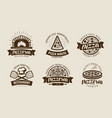 pizza pizzeria logo or label food symbol set vector image