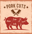 pork cuts vintage scheme for butcher shop vector image vector image