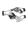 robbery with a gun sketch vector image vector image