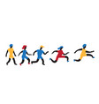 running and jumping women and men vector image