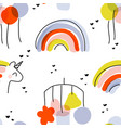 seamless pattern with rainbow unicorn balloons vector image vector image