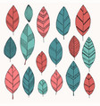 set doodle isolated vintage leaves doodle vector image vector image