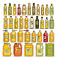 set of cooking oil in bottles vector image