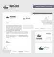 ship business letterhead envelope and visiting vector image vector image