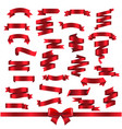 silk red ribbons isolated white background vector image vector image