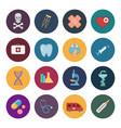 sixteen flat medicine icons vector image vector image