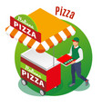 street food pizza isometric background vector image vector image