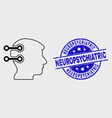 stroke brain interface links icon and vector image vector image