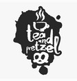 tea and pretzel in an ink blot vector image vector image