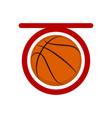 top view of a basketball ball on a net vector image vector image