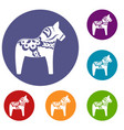 toy horse icons set vector image vector image