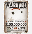 wanted vintage western poster vector image vector image