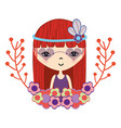 woman with flower in the head and branches flowers vector image