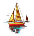 yachts and seagulls on background sea vector image vector image