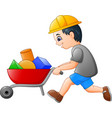 young builder worker pushing a wheelbarrow vector image