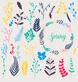 Collection of spring flowers leaves dandelion vector image