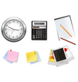 a clock and office supplies vector image vector image