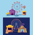 amusement park with tents circus and icons vector image vector image