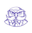 angry owl man mustache doodle vector image