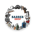 barbershop haircat tools and mustache shave vector image vector image