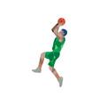Basketball Player Jump Shot Ball Low Polygon vector image vector image