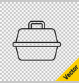 black line pet carry case icon isolated on vector image vector image