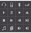 black sound icons set vector image vector image