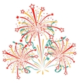 Bursting fireworks with tinsel streamers and vector image