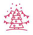 christmas tree with ornaments linear icon in red vector image