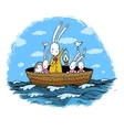 Cute little hares and hedgehog floating in a boat vector image vector image