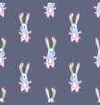 cute rainbow cartoon bunny rabit with dots vector image vector image