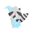 cute sleepy raccoon in a night cap with pillow vector image vector image