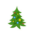 decorated christmas tree cartoon vector image