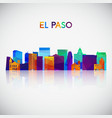 el paso skyline silhouette in colorful geometric vector image vector image