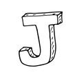 English alphabet - hand drawn letter J vector image vector image