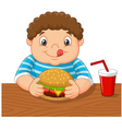 Fat boy smiling and ready to eat a big hamburger vector image