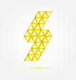 Flash lightning icon made with triangles - blue vector image vector image