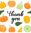 frame hand drawn pumpkin thank you hand drawn vector image vector image