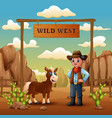 funny cowboy with horse in stony desert vector image vector image
