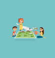 group children playing with 3d map vector image vector image