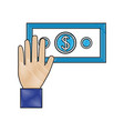 hand with bill dollar isolated icon vector image vector image