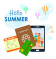 hello summer lettering on cartoon travel poster vector image vector image