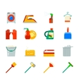 Household Cleaning Symbols Accessories Icons Set vector image