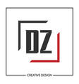 initial letter dz logo template design vector image