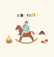 little baby boy sit on wooden horse with cube vector image