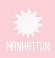 manhattan text vintage retro lettering design vector image