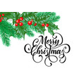 merry christmas greeting card new year holly vector image vector image