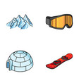 mountains goggles an igloo a snowboard ski vector image vector image