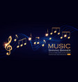 music notes and treble clef on swirling tave vector image vector image