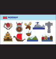 norway travel landmark symbols or norwegian vector image vector image